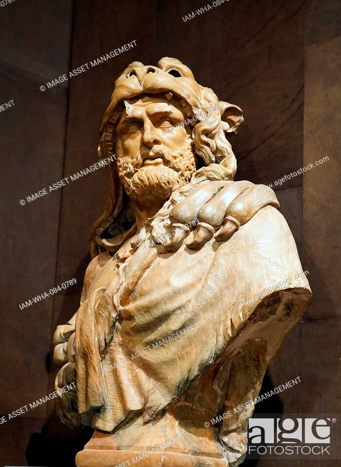 Stock Photo: Terracotta bust of Hercules by Lucas Faydherbe (1617-1697) a Flemish sculptor and architect. Dated 17th Century.