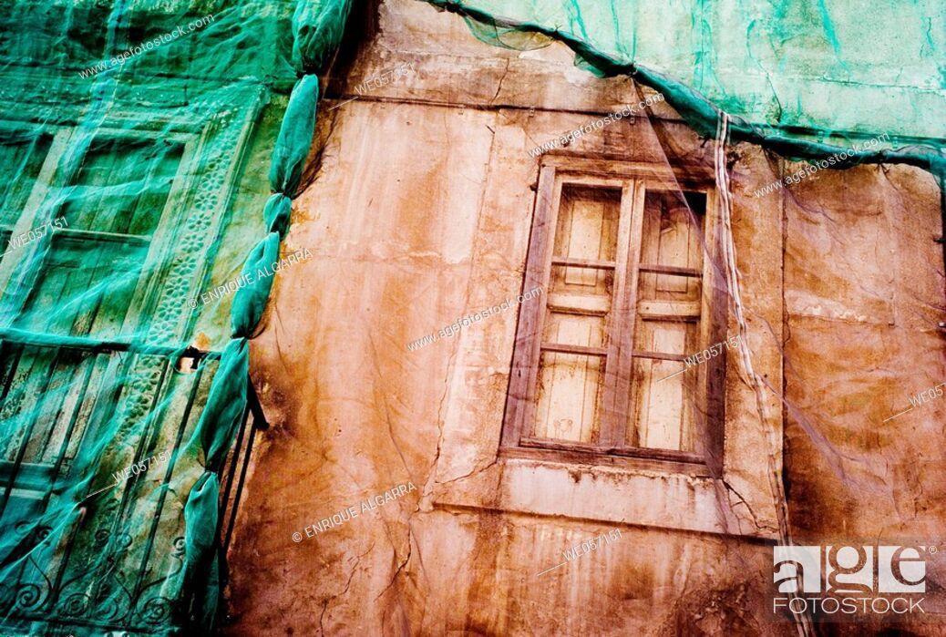 Stock Photo: Building under rehabilitation, Valencia. Comunidad Valenciana, Spain.