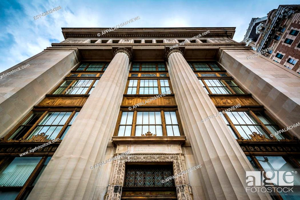 Stock Photo: Old building on Charles Street, in Mount Vernon, Baltimore, Maryland.