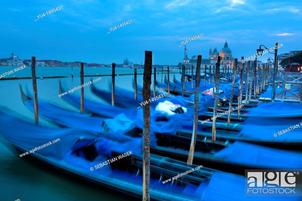 Stock Photo: Gondolas in Grand Canal, Venice, Veneto, Italy, Europe.