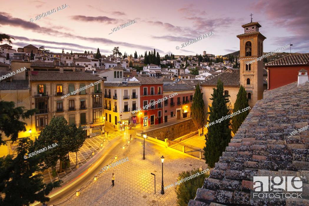 Stock Photo: Plaza Nueva. Church of Santa Ana, Albaicín and Darro river at night. Granada City. Andalusia, Southern Spain Europe.