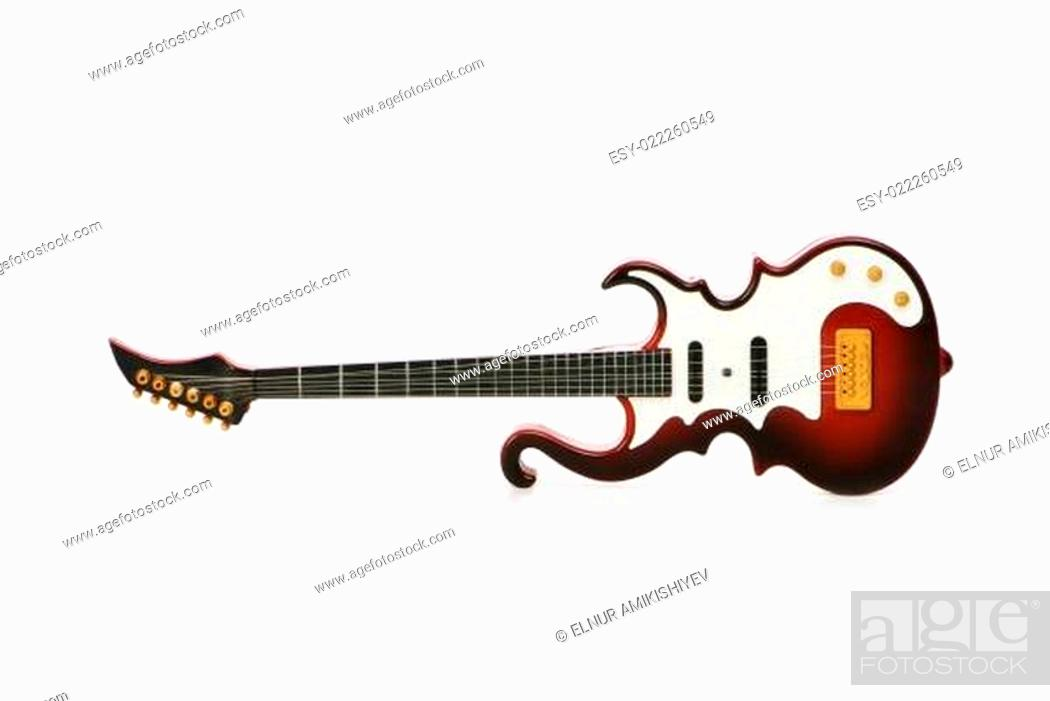 Stock Photo: Wood guitar isolated on the white background.