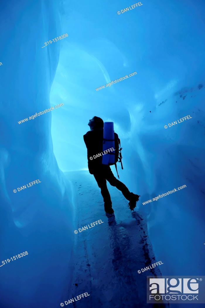 Stock Photo: Ice cave silhouette, Wrangell-St. Elias National Park and Preserve, Alaska, USA.