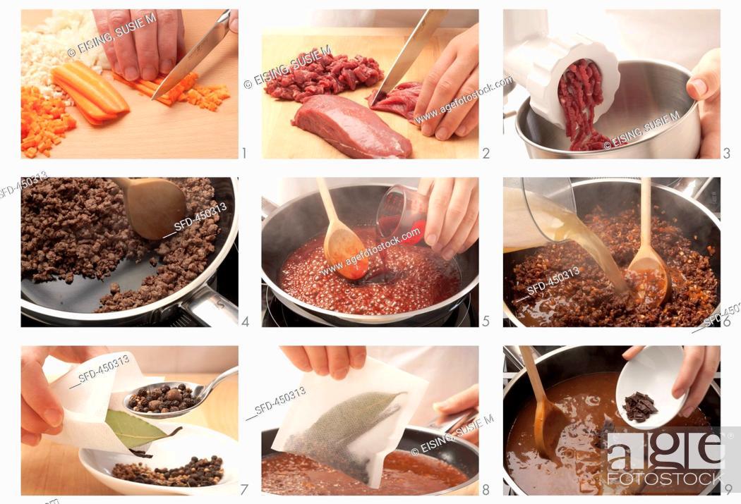Photo de stock: Venison bolognese being prepared.