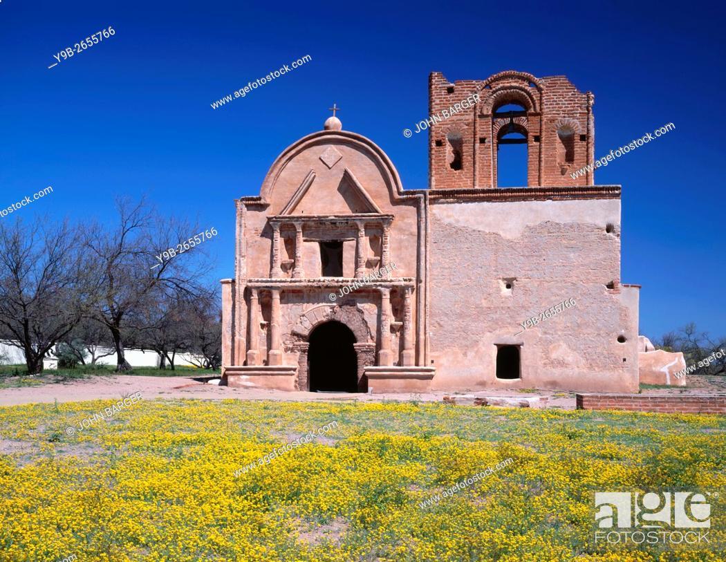 Stock Photo: USA, Arizona, Tumacacori National Historical Park, Remains of mission church San Jose de Tumacacori, originally built in early 1800's, and spring wildflowers.