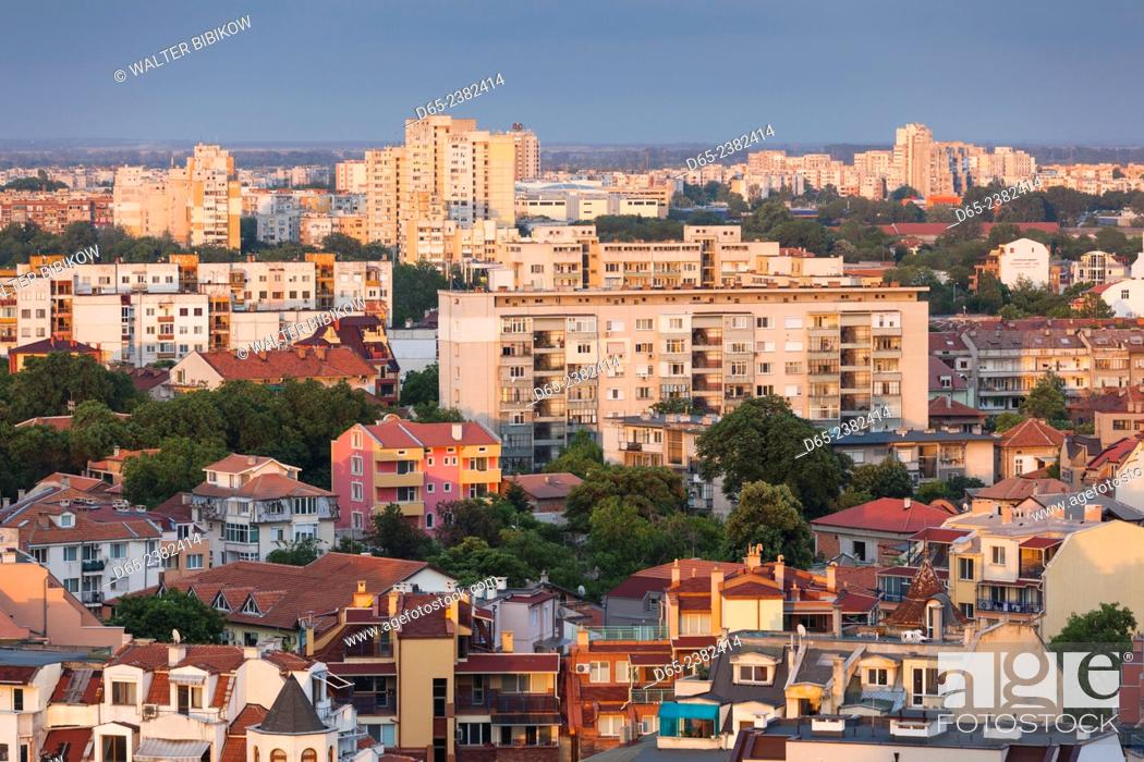 Stock Photo: Bulgaria, Southern Mountains, Plovdiv, elevated city view from Nebet Tepe hill, dusk.