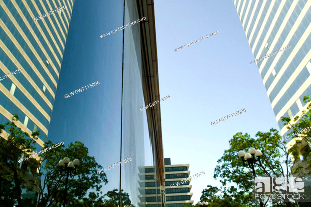 Stock Photo: Reflection of a building on glass, Miami, Florida, USA.