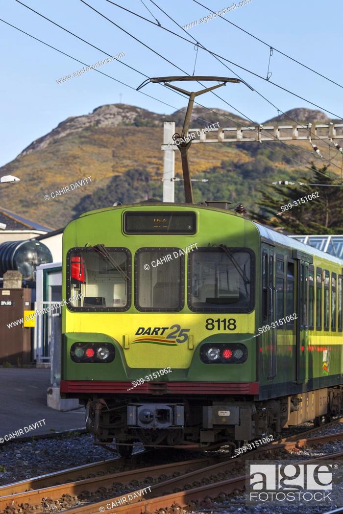 Stock Photo: The Irish DART (Dublin Area Rapid Transit) Train at Bray Station, Co. Wicklow, Ireland.