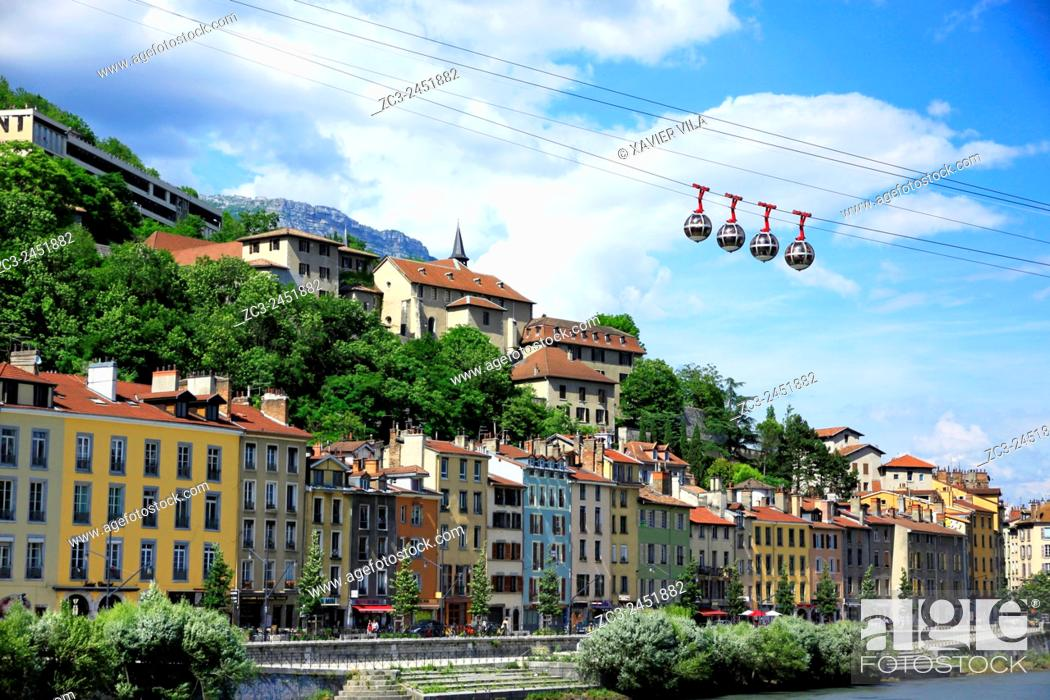 Stock Photo: Cable car and city of Grenoble, Isere, Rhone Alpes, France.