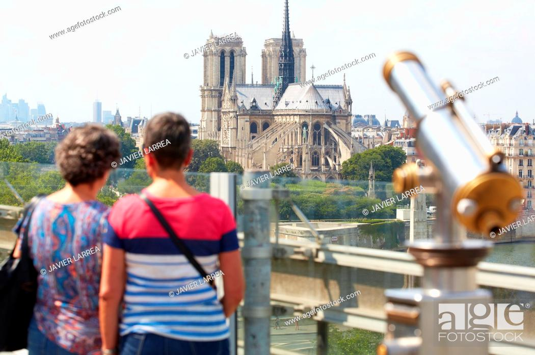 Stock Photo: Notre Dame Cathedral. View from Arab World Institute. Paris. France.