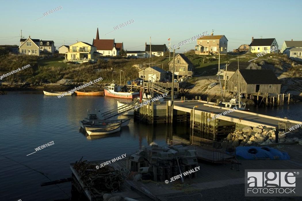 Stock Photo: Sunset, Peggys Cove, Nova Scotia, Canada.