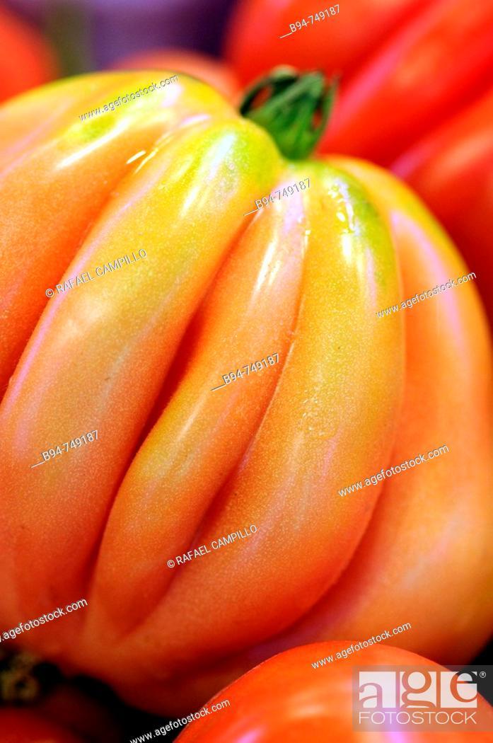 Stock Photo: Tomatoes at La Boqueria market, Barcelona. Catalonia, Spain.