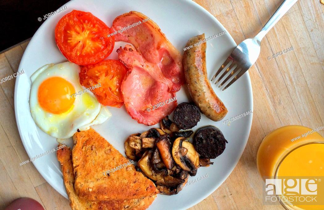 Stock Photo: English breakfast . United Kingdom.