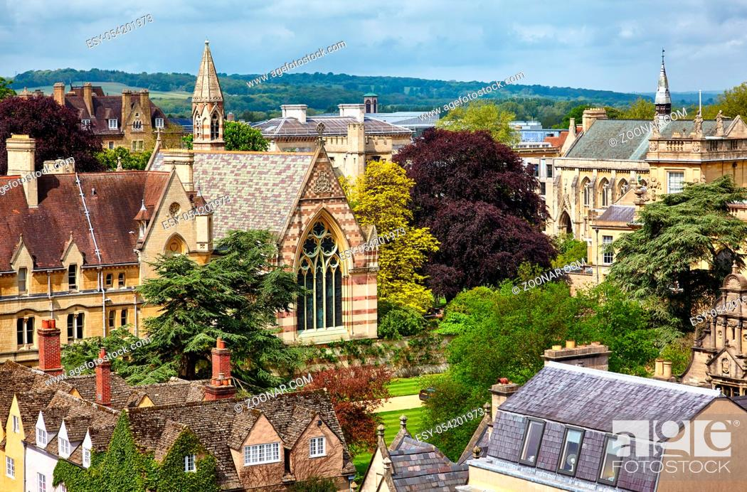 Stock Photo: Views to the central of university city with the chapels of Balliol College (William Butterfield's chapel ) and St John's College from the cupola of Sheldonian.