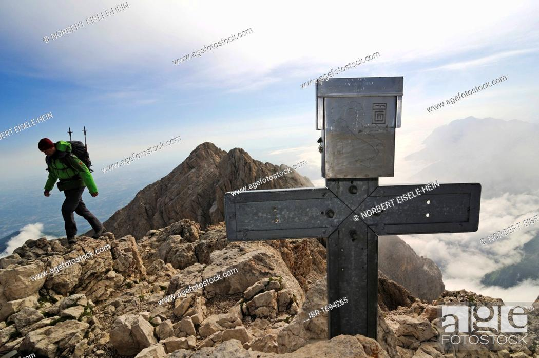 Stock Photo: Mountain climber on Corno Grande, Campo Imperatore, Gran Sasso National Park, Abruzzo, Italy, Europe.