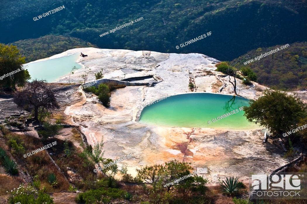 Stock Photo: High angle view of a thermal pool, Hierve El Agua, Oaxaca State, Mexico.