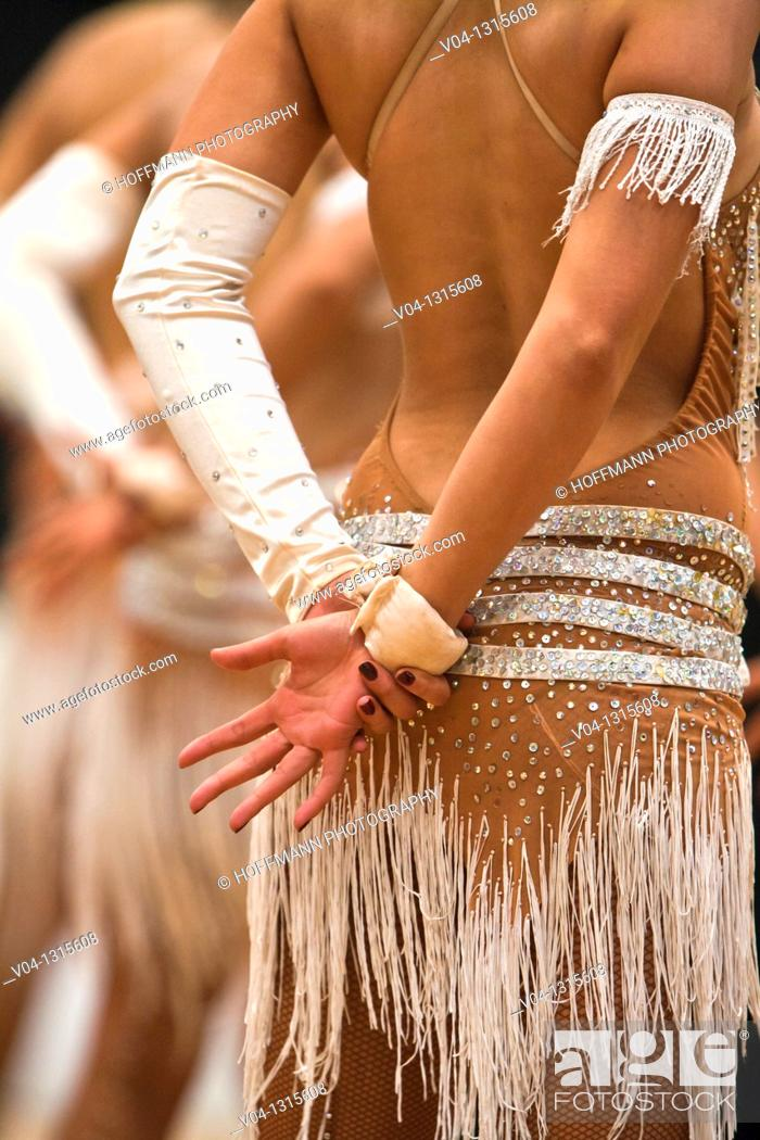 Stock Photo: Back of a female dancer at a dancing competition, Germany, Europe.