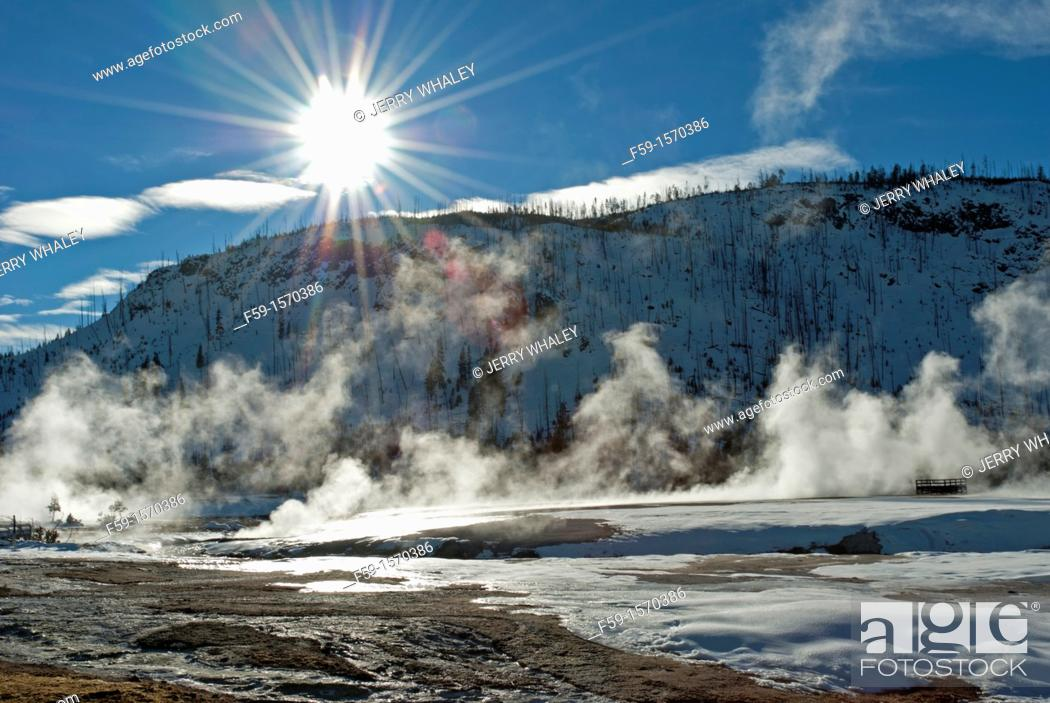 Stock Photo: Sunburst, Black Sand Basin, Winter, Yellowstone NP, WY.
