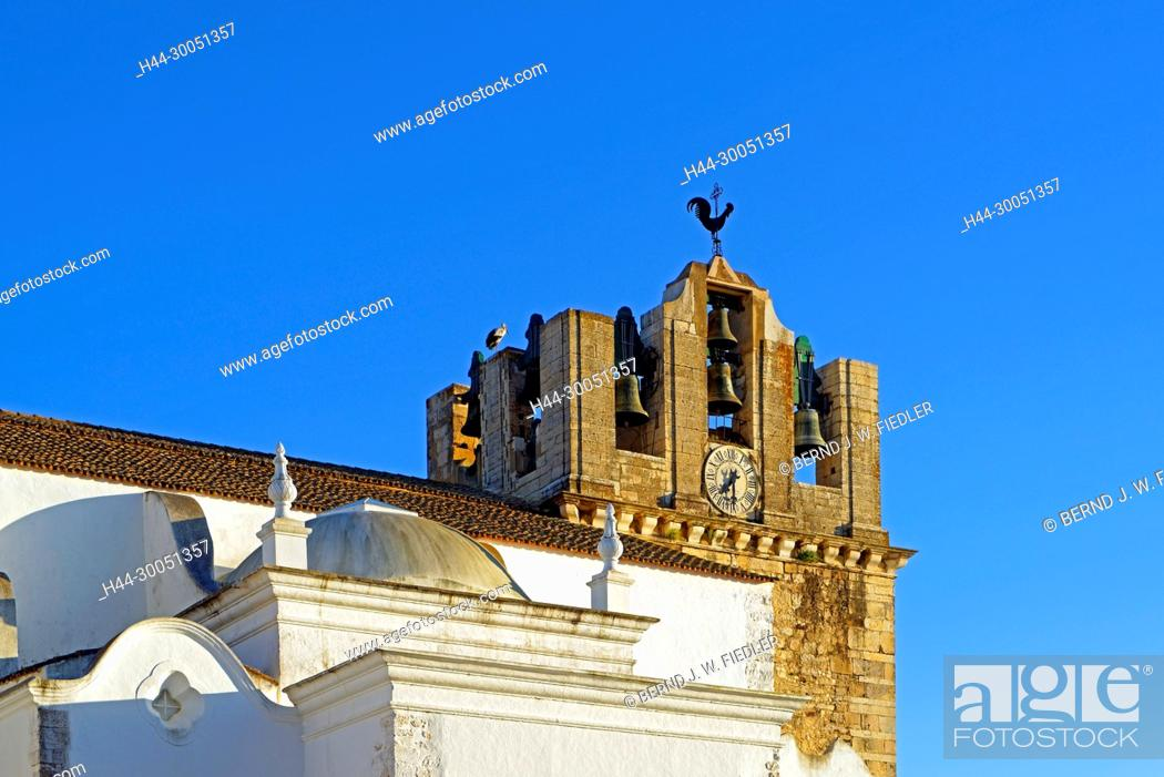 Stock Photo: Sé Catedral de Faro, Igreja de Santa Maria, steeple, Faro Portugal,.