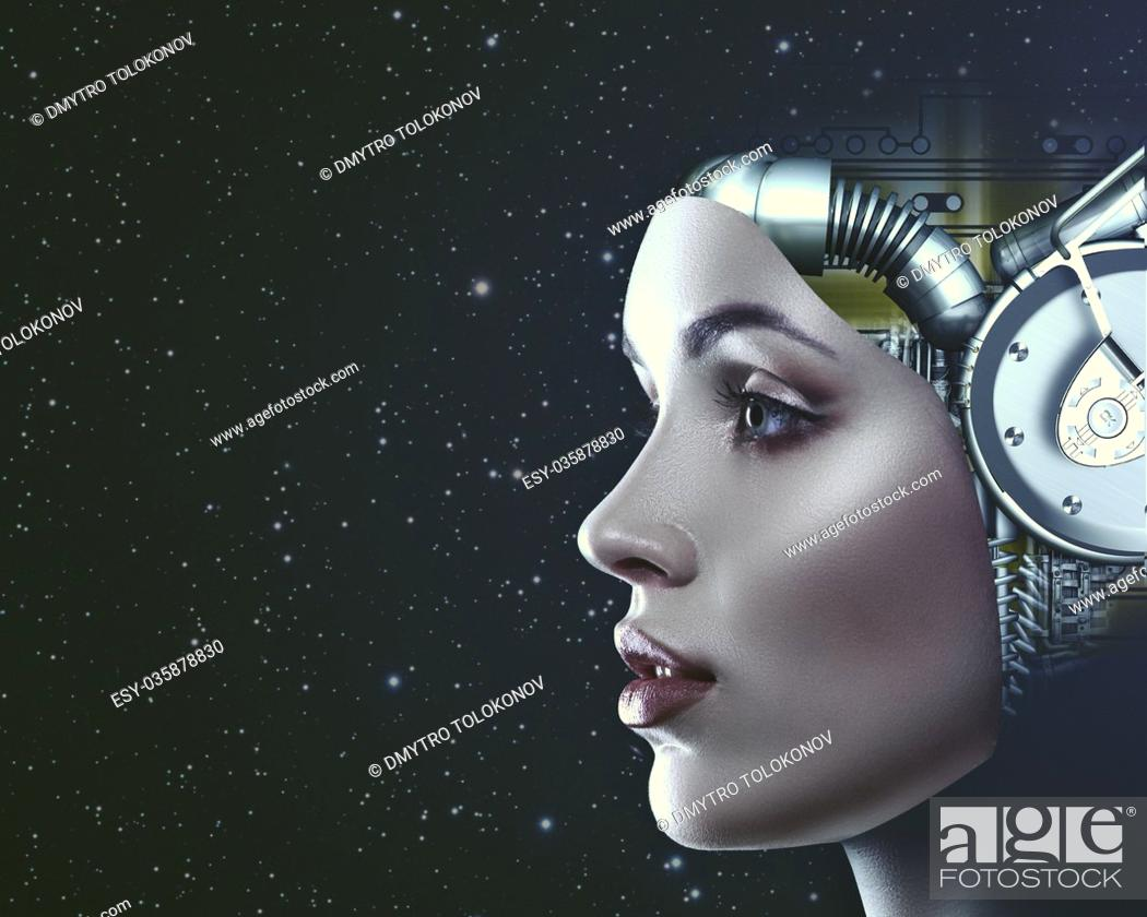 Stock Photo: Cyber look. Science and technology backgrounds with futuristic female portrait.