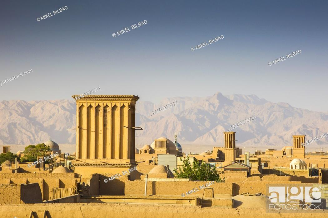 Stock Photo: Windtowers or badgirs (traditional architectural element to create natural ventilation). Yazd, Iran, Asia.