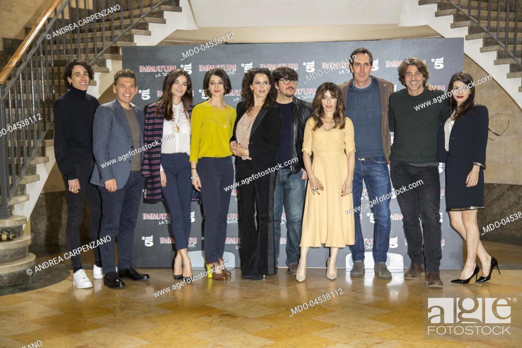 Stock Photo: The cast actors (Ricky Memphis, Daniele Liotti, Sabrina Impacciatore, Nicole Grimaudo, Irene Ferri, Ninni Bruschetta, Ilaria Spada, Daniele Liotti.