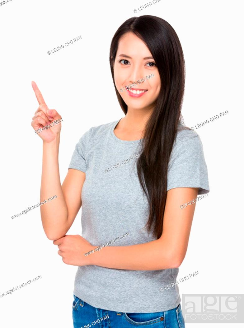 Stock Photo: Woman with finger up.