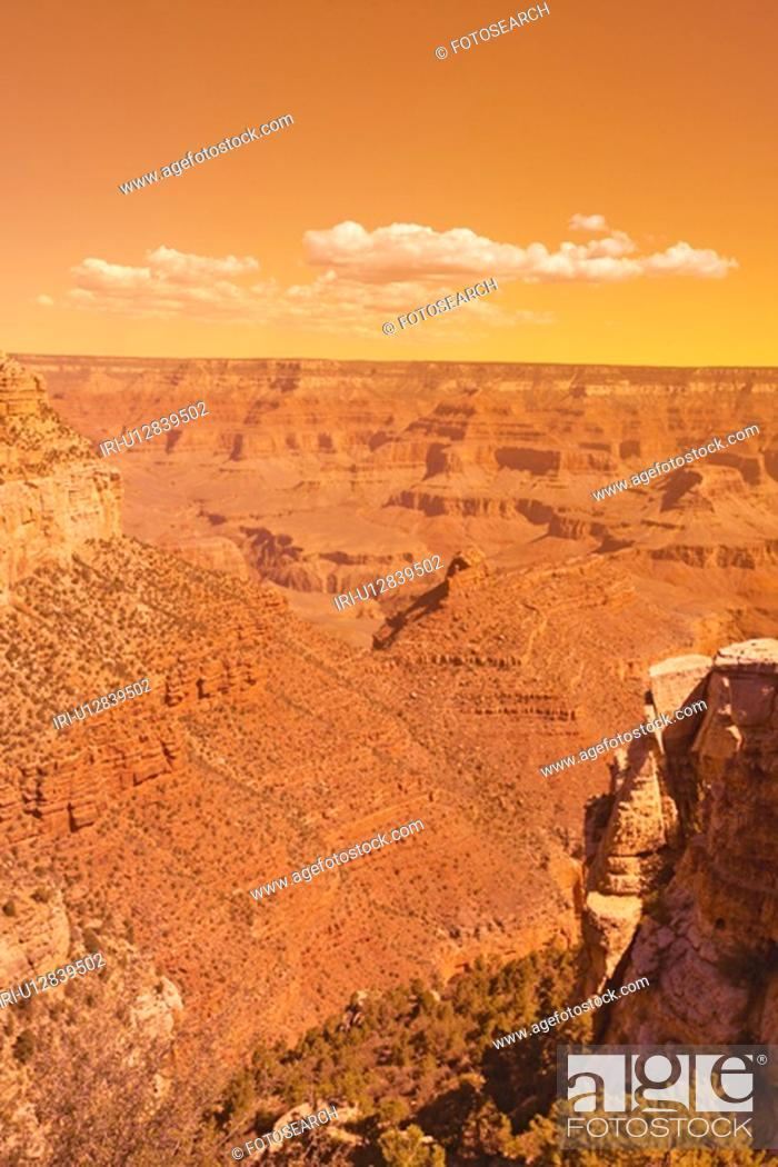 Stock Photo: Edge of South Rim of Grand Canyon National Park.