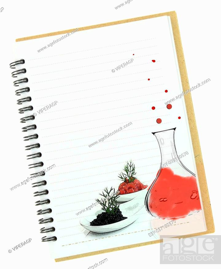 Stock Photo: Molecular gastronomy painting on blank notebook page.
