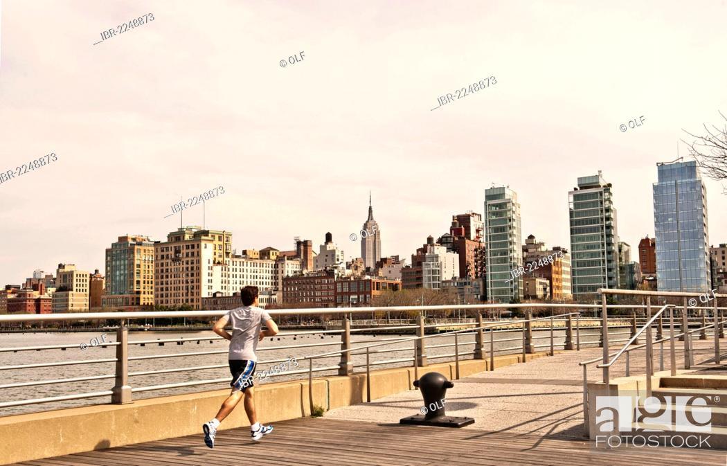 Jogger At Christopher Street Pier Hudson River Park Empire State