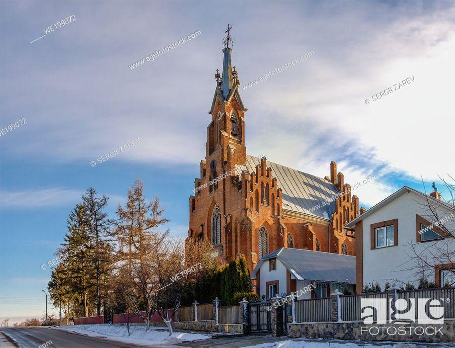 Stock Photo: Ozeryany, Ukraine 01. 06. 2020. Church of St. Anne in the village of Ozeryany, Ternopil region of Ukraine, on a winter day.
