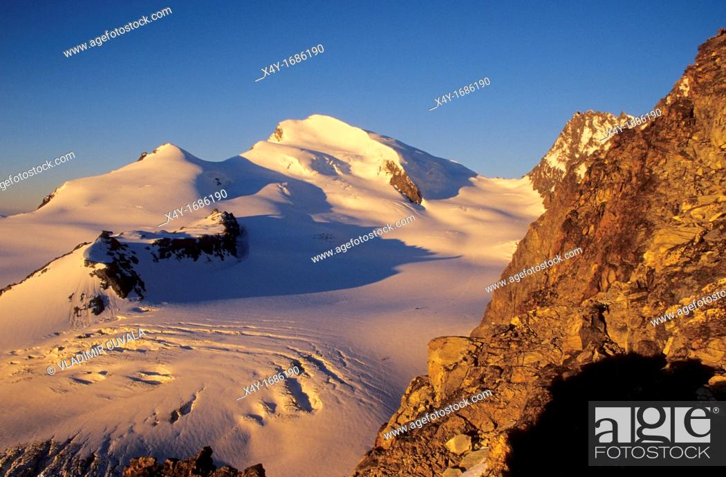 Stock Photo: View of the Strahlhorn and Allalin glacier in Wallis Alps, Switzerland.