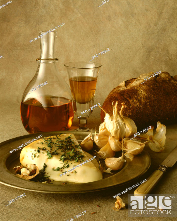 Stock Photo: Warm soft cheese with garlic and sherry.