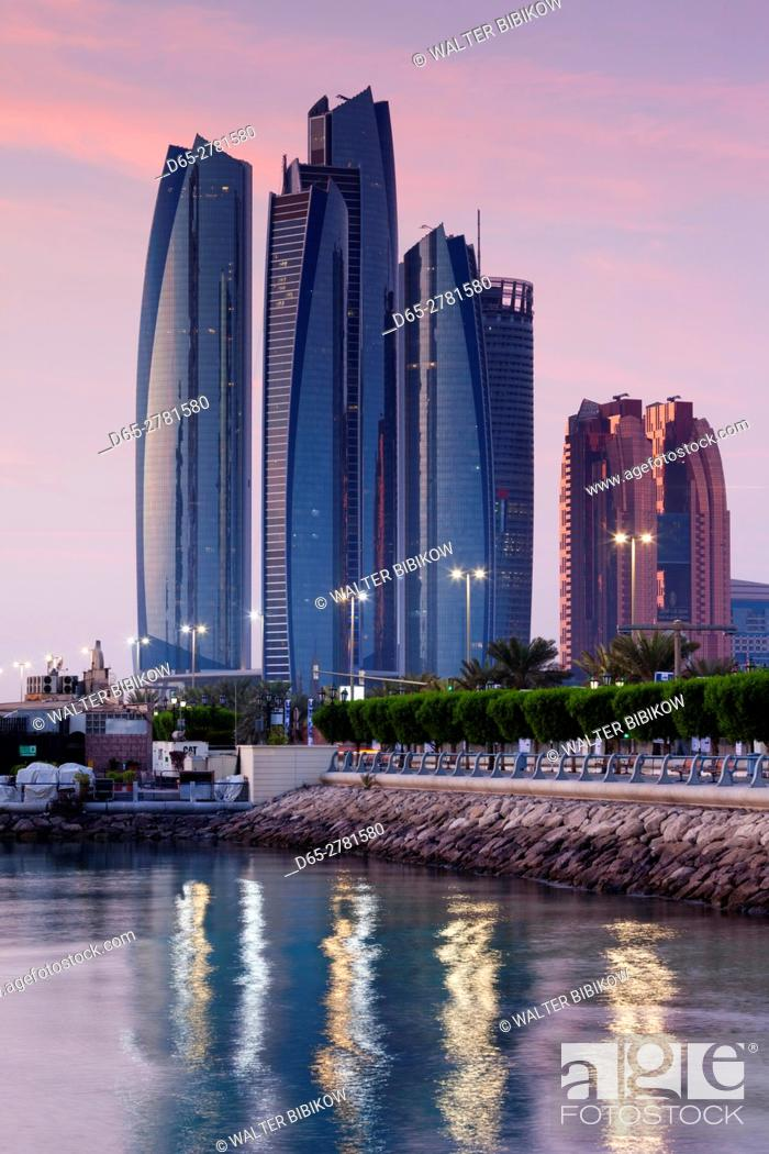 Stock Photo: UAE, Abu Dhabi, Etihad Towers, dawn.