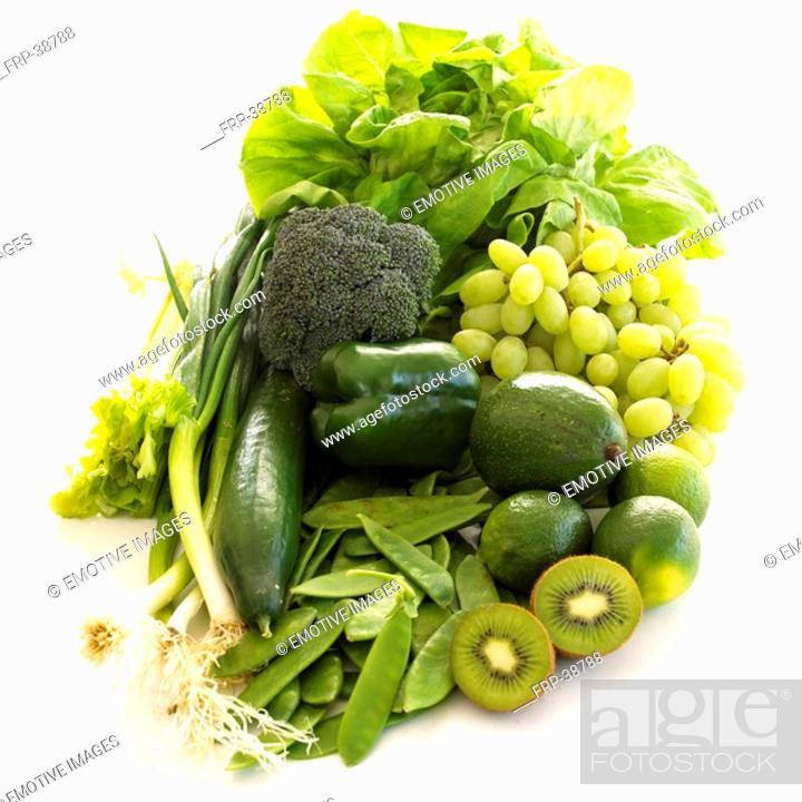 Stock Photo: 5 a day - green fruits and vegies.