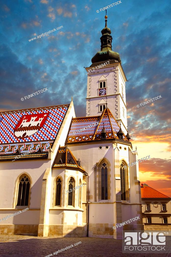 Stock Photo: Late Gothic church of St  Mark's Church Crkva sv  Marka , Zagreb, Croatia.