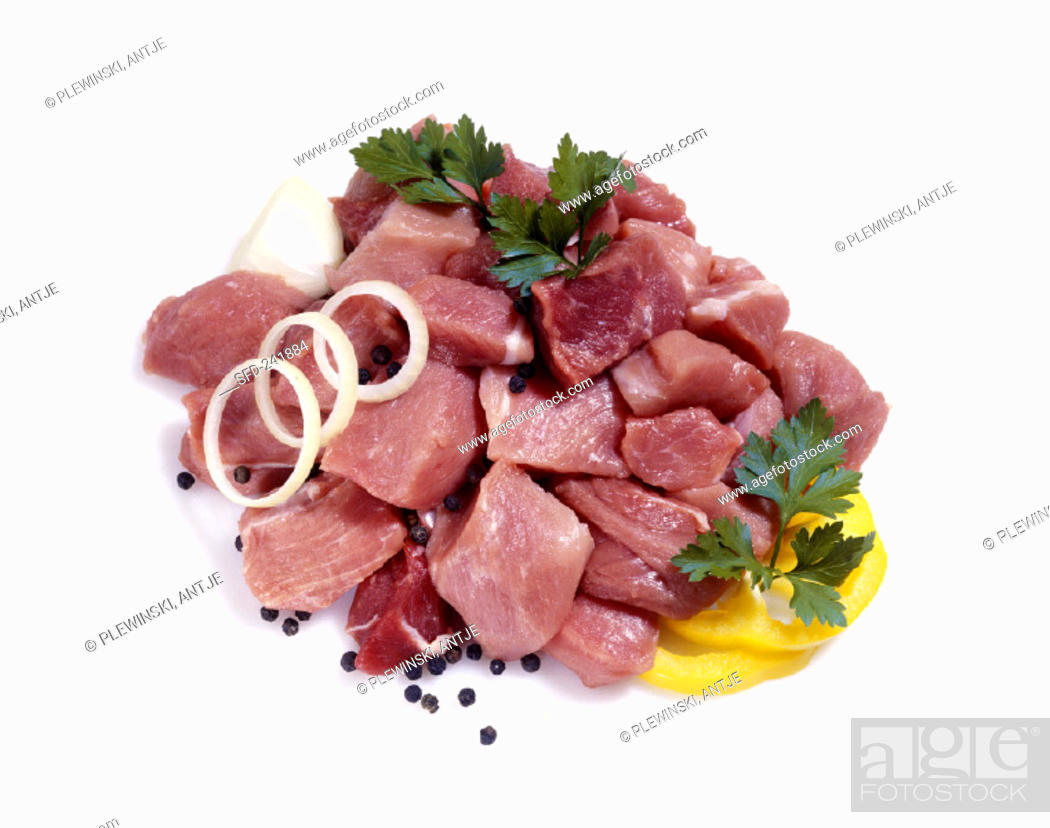 Stock Photo: Diced beef and pork.