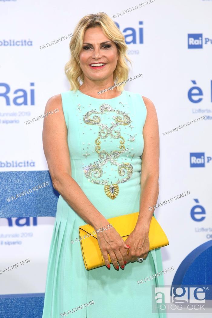 Stock Photo: Simona Ventura during the Rai programming launch in Milan, ITALY-09-07-2019.