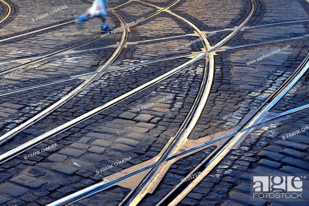 Stock Photo: Steets. Cobbles and rails. Prague. Czech Republic.