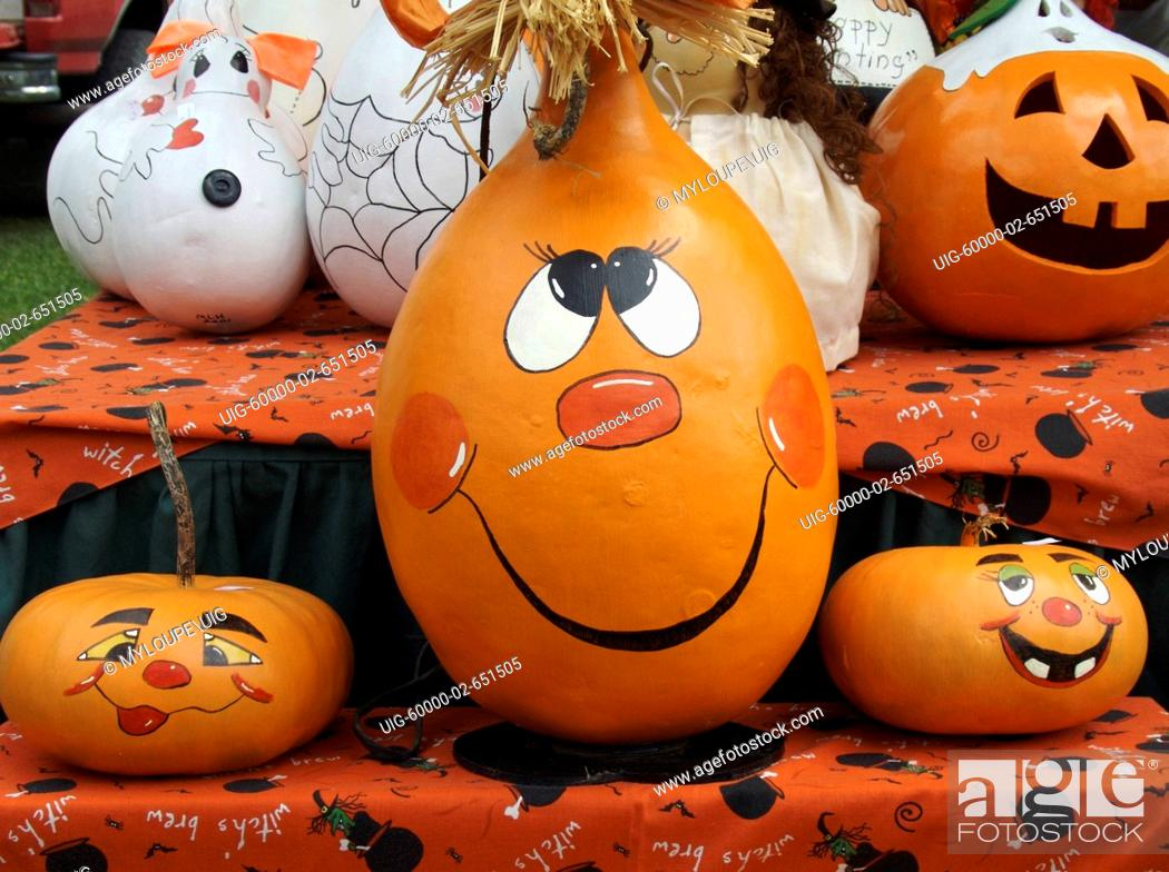 Stock Photo: Halloween Painted Gourds.