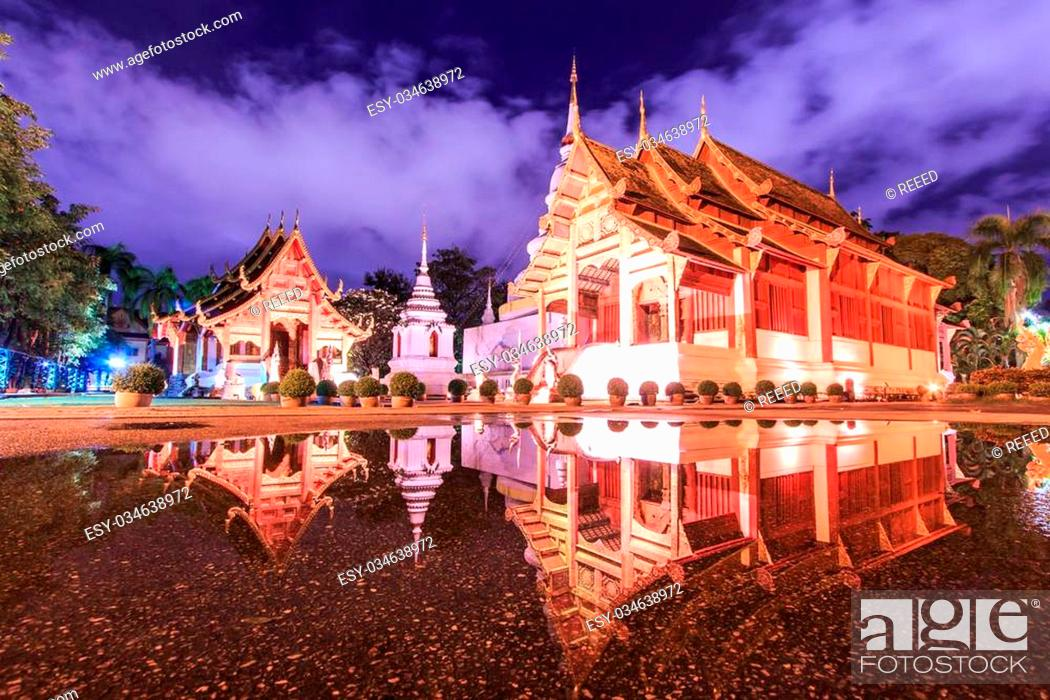 Stock Photo: Wat Phra Sing Water reflection Chiang Mai Province Asia Thaila.