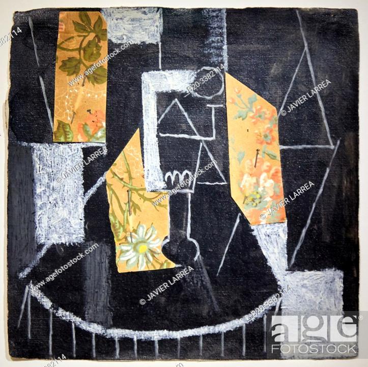 """Stock Photo: """"Verre sur un guéridon"""", 1913, Pablo Picasso, Picasso Museum, Paris, France, Europe."""
