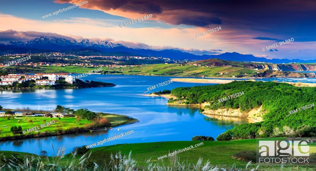 Stock Photo: Mogro stuary in Pas river  Dunas de Liencres Natural Park, Cantabria, Spain.