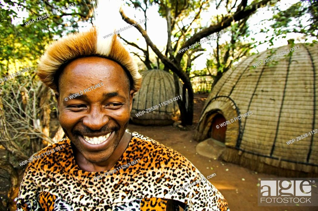 People Zulu Man In Traditional Dress Lesedi Cultural Village Near