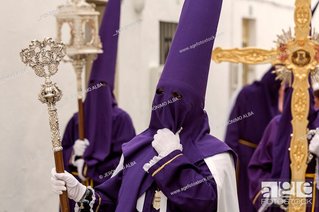 Stock Photo: Holy Week procession, white village (pueblo blanco), Mijas, Malaga province, Andalusia, Spain.