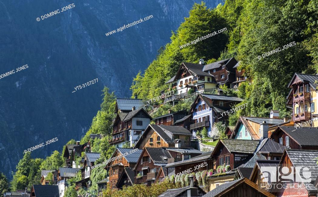Stock Photo: Houses at Hallstatt, Upper Austria, Austria, Europe.