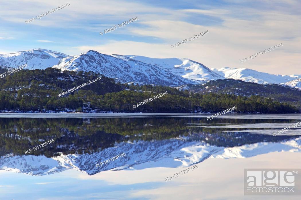 Stock Photo: Loch Beinn a'Mheadhain / Loch Benevian in winter, Glen Affric, Inverness-shire, Scottish Highlands, Highland, Scotland, UK.