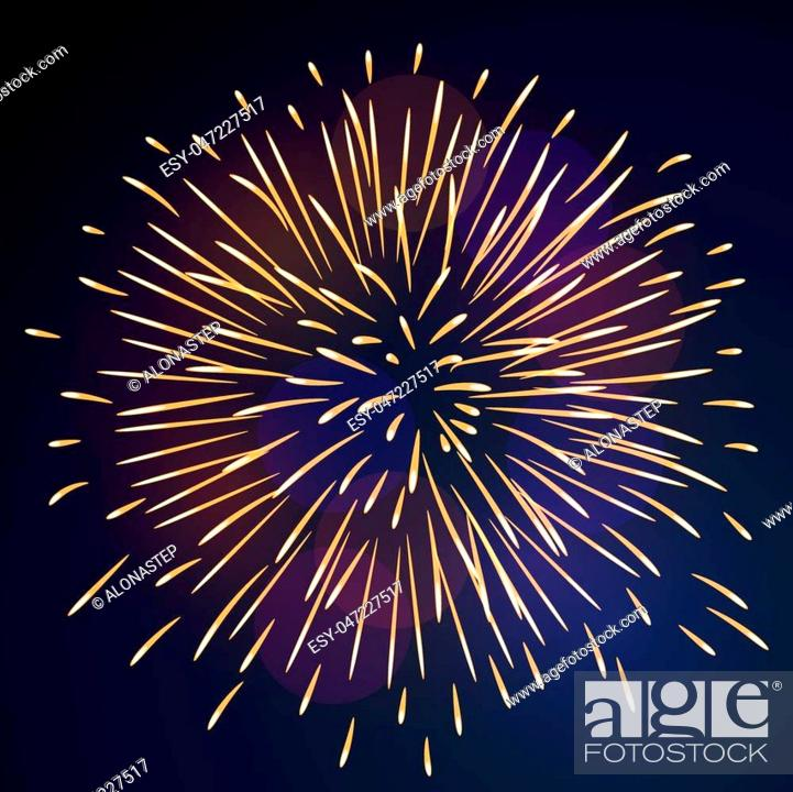 Stock Vector: Firework bursting sparkle background. Isolated gold colorful night fire, beautiful explosion celebration, holiday, Christmas, New Year, birthday.