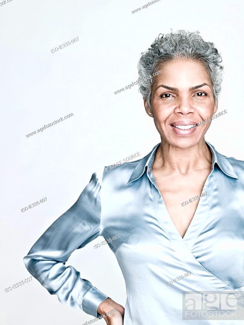 Stock Photo: Portrait of a mature woman.