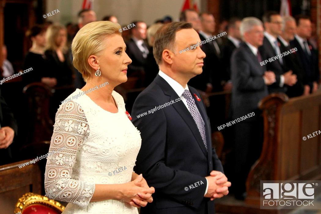 Stock Photo: May 3rd, 2018. Warsaw, Poland. Presidential Couple during holy mass for the intention of Poland.